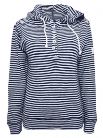 EX LAZY JACKS NAVY STRIPED BUTTON HOODIE HOODY JUMPER TOP NEW SIZES  8 10 12 14 16